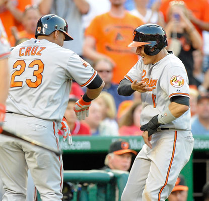 Nelson Cruz and Manny Machado, who has a career-high five hits, each go yard against Washington. (Getty Images)