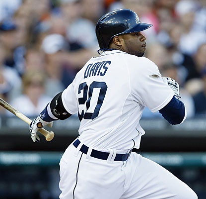 Rajai Davis is one of five Tigers with three hits against the Dodgers. He also walks three times. (USATSI)