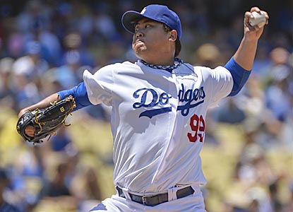 Hyun-Jin Ryu allows two hits in six innings and reaches double digits in strikeouts for the second time in his career.  (USATSI)