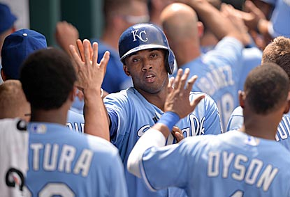Alcides Escobar singles and scores during a five-run seventh inning that sends the Royals into the break on a good note.  (USATSI)