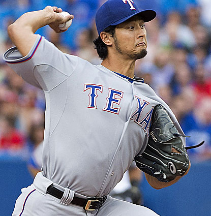 Yu Darvish (9-5) wins for the first time in three starts, allowing just one run and five hits against the Blue Jays. (USATSI)