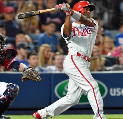 Jimmy Rollins accounts for both of Philadelphia's runs with this long ball in the seventh inning.  (USATSI)