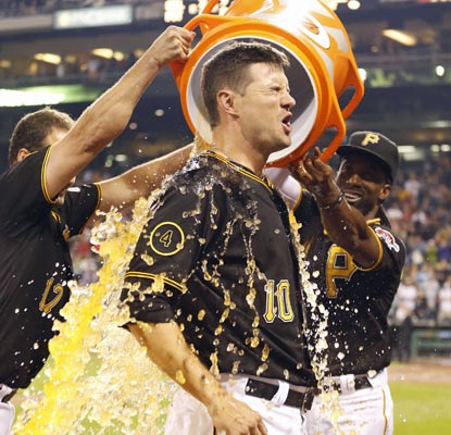 Jordy Mercer receives a Gatorade bath after doubling home the winning run for Pittsburgh.  (USATSI)
