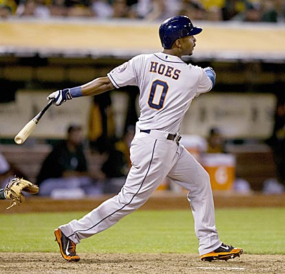 L.J. Hoes, who has struggled for most of the season, comes up big in the 12th inning for Houston.  (Getty Images)