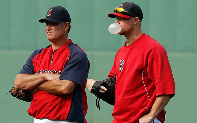 Jon Lester, with manager John Farrell on Tuesday, was scratched from his Wednesday start. (Getty Images)