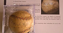 Babe Ruth autographed ball (screen shot)