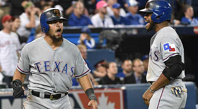 Rangers beat Jays in 14, go up 2-0 in ALDS