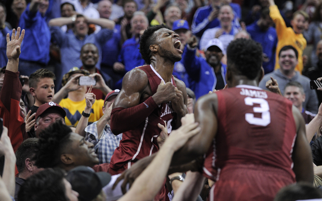 Oklahoma's Buddy Heild celebrates before his shot was waved off. (USATSI)