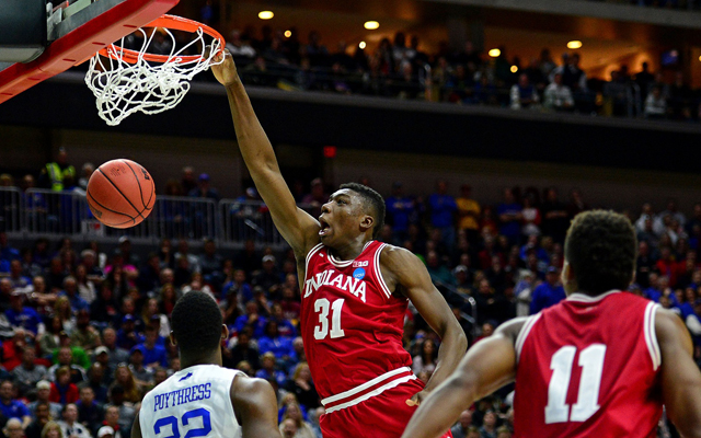 Indiana's Thomas Bryant slams home two of his team-high 19 points. (USATSI)