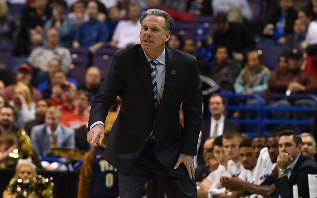 Pitt's Jamie Dixon coaches in the Panthers' loss to Wisconsin in the NCAA first round. (USATSI)