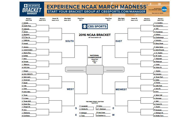 Print Me Out Heres Your Printable 2016 NCAA Tournament Bracket