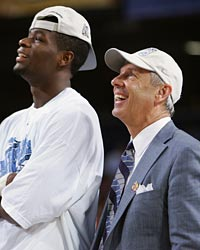 Roy Williams finally was able to watch his team cut down the nets. (Getty Images)