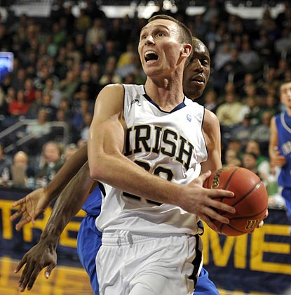 Notre Dame's Ben Hansbrough -- Tyler's little brother -- drives to the basket in the second half.  (AP)