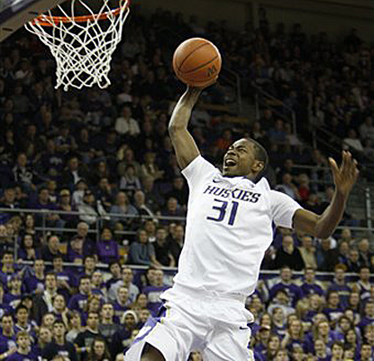 Washington's Terrence Ross goes up for a late basket during the Huskies' commanding win over Texas Tech. (AP)