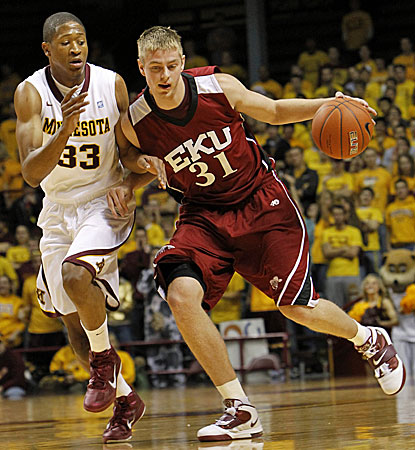 Eastern Kentucky guard Justin Stommes (31) finishes with 19 points in a losing effort against Minnesota.  (AP)