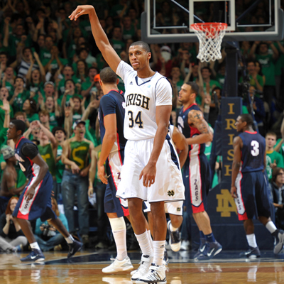 Notre Dame's Carleton Scott -- career-high 23 points -- reacts after draining a long two-point shot against Gonzaga.  (Getty Images)