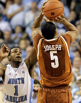 Texas' Cory Joseph lifts off on his game-winning jumper against the Tar Heels on Saturday. (AP)