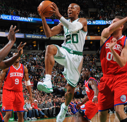 Ray Allen drives the lane as he works toward his team-leading 22 points. (Getty Images)