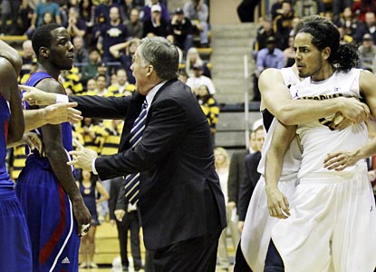 Emotions run high for the Jayhawks and Bears in a game that features some scuffles.  (AP)