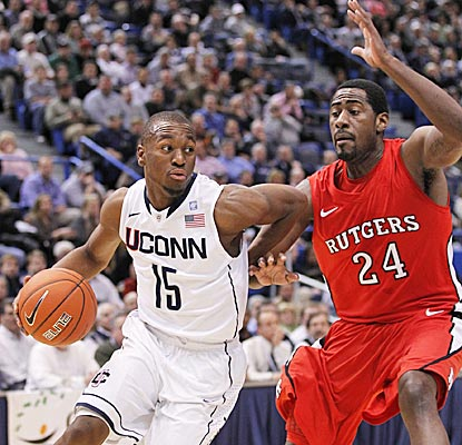 UConn's Kemba Walker fails to get 20 points for the third time this season, but pulls down six boards. (US Presswire)