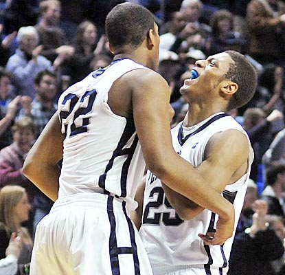 Penn State's Andrew Jones, left, scores with one second left, setting off a wild celebration in State College.  (AP)