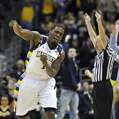 Marquette's Darius Johnson-Odom celebrates a 3-pointer during the second half in Milwaukee. (AP)