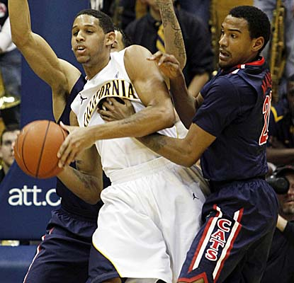 Cal's Allen Crabbe struggles for the ball amid defenders as the Golden Bears have their four-game winning streak snapped. (AP)