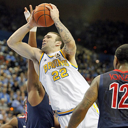 UCLA's Reeves Nelson goes up for two of his career-high 27 points against Arizona. (AP)