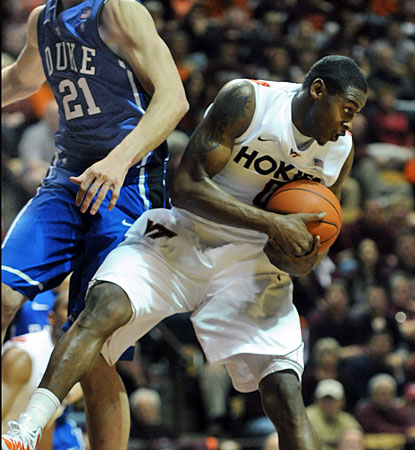 Virginia Tech's Jeff Allen grabs one of his 15 rebounds as the Hokies upset No. 1 Duke. (AP)