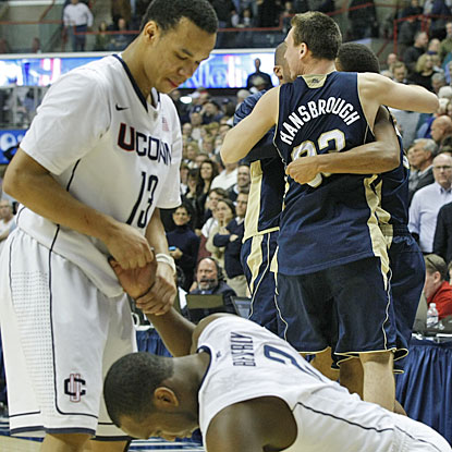UConn falls short while Notre Dame overcomes the loss of Ben Hansbrough, who fouls out in the second half.  (US Presswire)