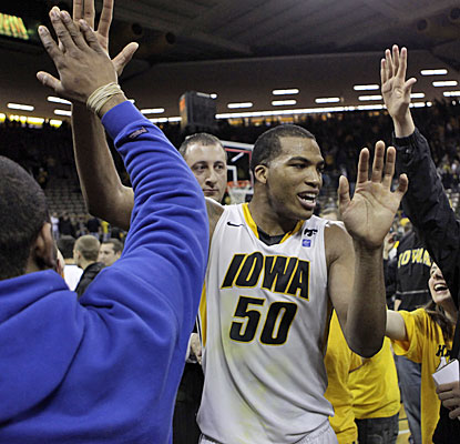 Jarryd Cole is a crowd pleaser in his final home game for Iowa, scoring 16 points with 10 rebounds. (AP)