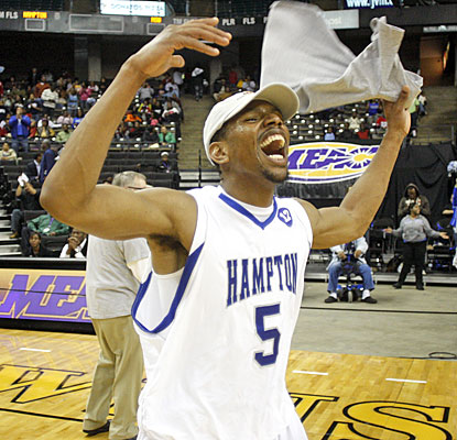 Brandon Tunnell celebrates after scoring 20 points to lead Hampton to its first NCAA bid in five years.  (AP)
