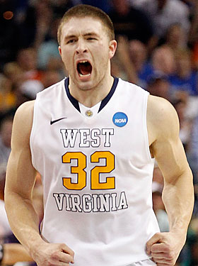 Dalton Pepper comes up with three huge defensive playes for West Virginia in the final minutes. (Getty Images)