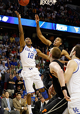 Freshman Brandon Knight is usually good for 17.5 ppg, but his two points Thursday are big for Kentucky. (Getty Images)