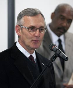 At the initial news conference, it was announced that Jim Tressel would only miss two games. That's been upgraded to five. (AP)