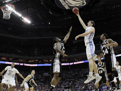 UNC's Tyler Zeller takes full advantage of his size and skill while scoring 32 points in a win over Long Island University.  (US Presswire)