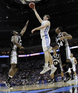 UNC's Tyler Zeller takes full advantage of his size and skill while scoring 32 points against Long Island. (US Presswire)