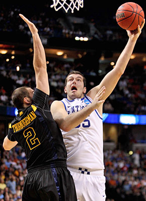 Josh Harrellson has contributed 15 points in both of Kentucky's tournament victories. (US Presswire)