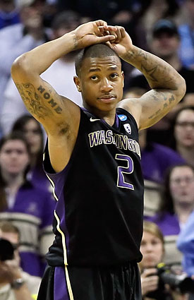 Isaiah Thomas leads UW to the brink of a repeat appearance in the Sweet 16. (Getty Images)