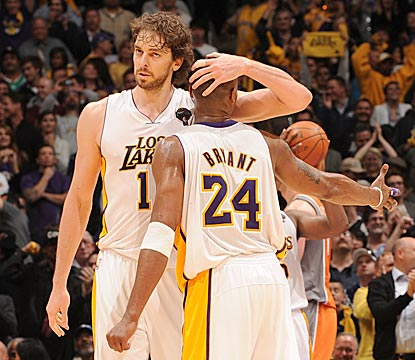 After an unexpected extra 15 minutes of play, Pau Gasol and Kobe Bryant combine for 71 points and 25 rebounds.  (Getty Images)