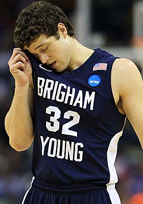 Held scoreless in overtime, BYU senior Jimmer Fredette reacts late in the Cougars' loss to Florida. (Getty Images)