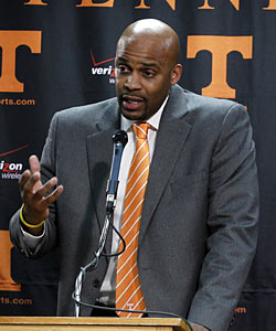 Cuonzo Martin calls the Vols gig 'a great job' and says 'whatever happens with the NCAA, I will be the coach.' (AP)