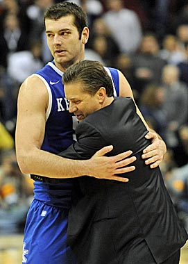 John Calipari showed Josh Harrellson his more emotional side in March. (US Presswire)