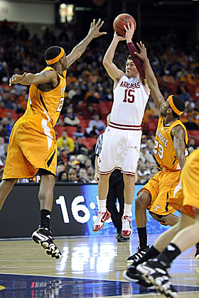 Rotnei Clarke raises up over Tennessee defenders. Will he be shooting for Brad Stevens next? (US Presswire)