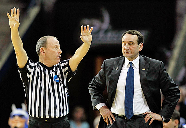 Will Coach K be whistled for anything more than a ticky-tack foul? Almost assuredly no. (Getty Images)
