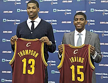 Cavs teammates Tristan Thompson and Kyrie Irving are back in the classroom. (Getty Images)