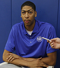 At No. 7, Kentucky's Anthony Davis is the highest ranked of 13 freshmen on the list. (US Presswire)