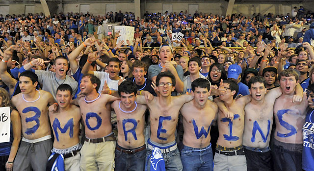 Duke students and fans know how many more wins Mike Krzyzewski needs to pass Bob Knight. (AP)
