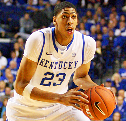 Kentucky's Anthony Davis joins teammate Terrence Jones and Sam Bowie with a 20-10 in his debut.  (US Presswire)