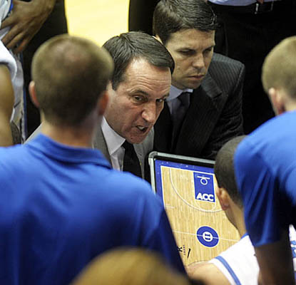 In his 37th season as a college coach, Mike Krzyzewski improves his career record to 902-284 as Duke downs Presbyterian. (Getty Images)